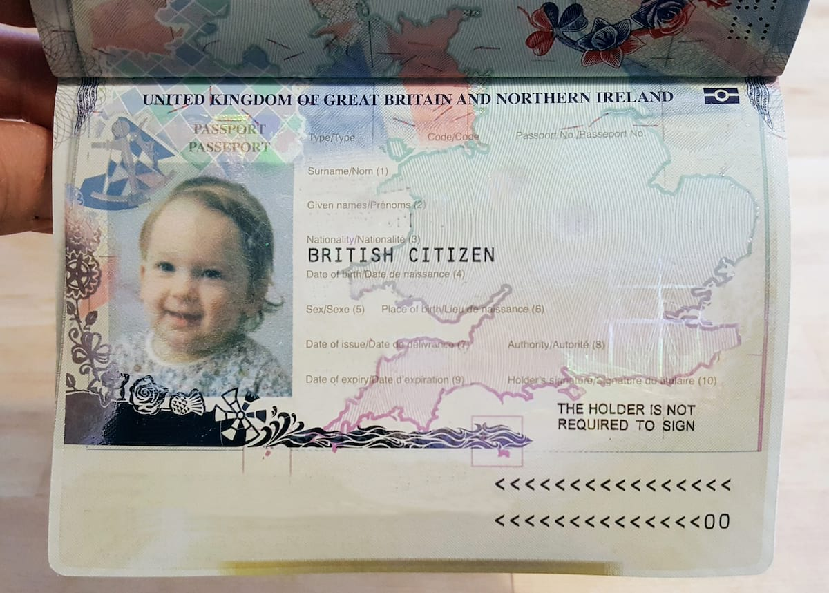 British Passport example