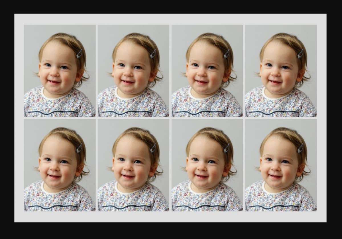 Multiple passport photos for the price of one print